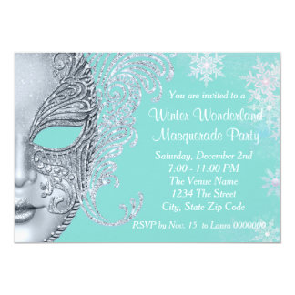 Teal Blue Winter Wonderland Masquerade Party Card