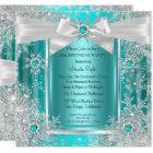 Teal Blue Winter Wonderland Snowflake Silver Bow Card