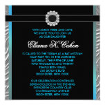 Teal Blue Zebra Bat Mitzvah 13 Cm X 13 Cm Square Invitation Card