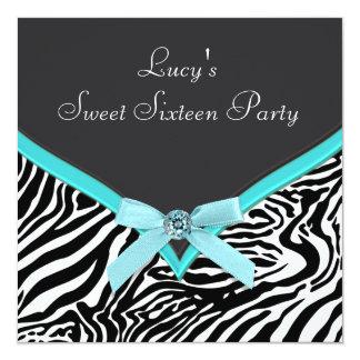 Teal Blue Zebra Birthday Party 13 Cm X 13 Cm Square Invitation Card