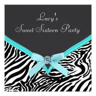 Teal Blue Zebra Birthday Party Invite