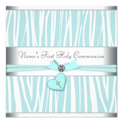 Teal Blue Zebra Cross First Communion Custom Invitation