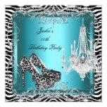 Teal Blue Zebra Leopard Print Party Shoes 13 Cm X 13 Cm Square Invitation Card