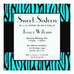 Teal Blue Zebra Modern Sweet 16 Birthday Party 13 Cm X 13 Cm Square Invitation Card