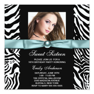 Teal Blue Zebra Photo Sweet Sixteen Birthday Party 13 Cm X 13 Cm Square Invitation Card