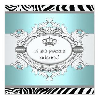 Teal Blue Zebra Princess Baby Girl Shower Card