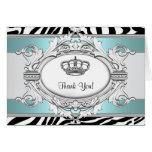 Teal Blue Zebra Princess Thank You Card