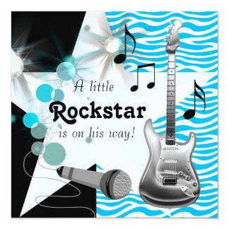 Teal Blue Zebra Rock Star Baby Boy Shower Custom Invitation