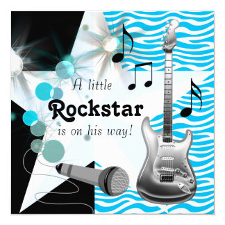 Teal Blue Zebra Rock Star Baby Boy Shower 13 Cm X 13 Cm Square Invitation Card