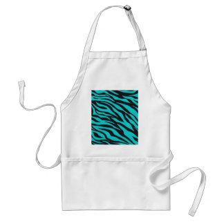 Teal Blue Zebra Stripes Wild Animal Prints Novelty Aprons