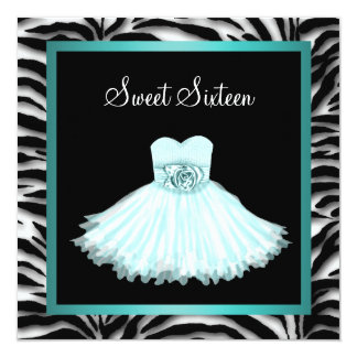 Teal Blue Zebra Sweet Sixteen Birthday Party 13 Cm X 13 Cm Square Invitation Card