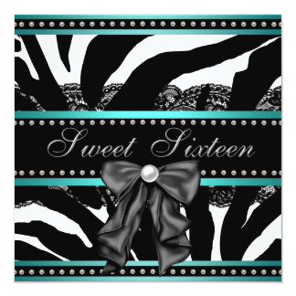 Teal Blue Zebra Sweet Sixteen Birthday Party 13 Cm X 13 Cm Square Invitation Card
