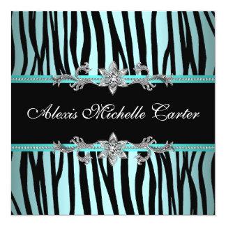 Teal Blue Zebra Sweet Sixteen Birthday Party Card