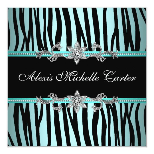 Teal Blue Zebra Sweet Sixteen Birthday Party Card
