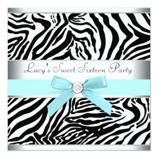 Teal Blue Zebra Sweet Sixteen Birthday Party Invit 13 Cm X 13 Cm Square Invitation Card