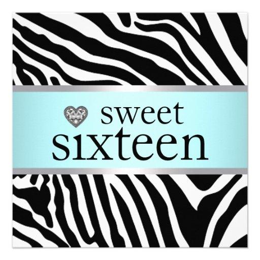 Teal Blue Zebra Sweet Sixteen Birthday Party Invitations