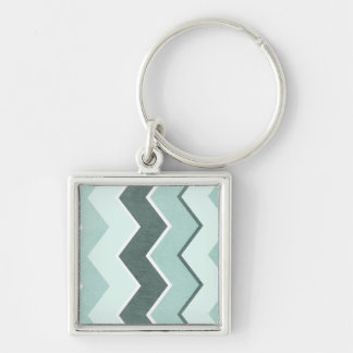 Teal Blue Zig Zag Pattern Silver-Colored Square Key Ring