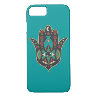 Teal Bohemian Hamsa Hand Evil Eye iPhone Case