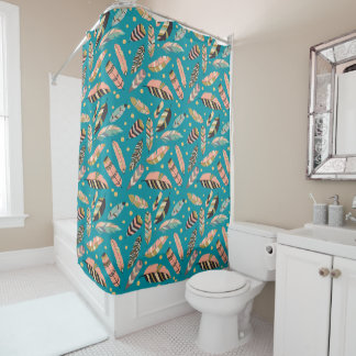 Teal Boho Feather Pattern Shower Curtain