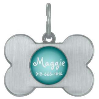 Teal Bone Shaped Customizable Name Dog Tag Pet ID Tag