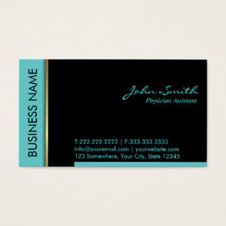 Teal Border Physician Assistant Business Card