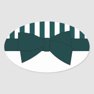 Teal Bow and stripes Oval Sticker