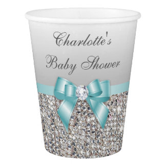 Teal Bow Silver Sequins Baby Shower Paper Cup