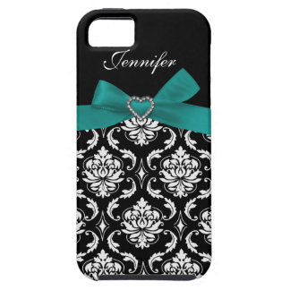 Teal Bow with Black Damask iPhone Case