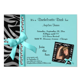 Teal Bow With Silver Pearls And Zebra Stripes Card