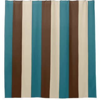 Teal Brown and Beige Vertical Stripes Shower Curtain