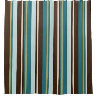 Teal, Brown, Beige and Gold Vertical Stripes Shower Curtain