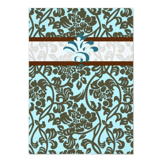 Teal & Brown Brocade Wedding Invitation