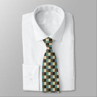 Teal Brown Chocolate Beige Cream Tan Plaid Tie