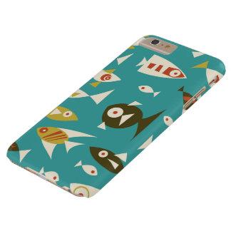 Teal Brown Orange Retro Fish Design Barely There iPhone 6 Plus Case