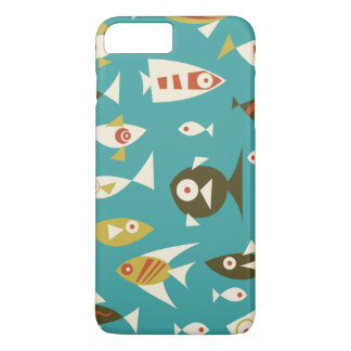 Teal Brown Orange Retro Fish Design iPhone 7 Plus Case