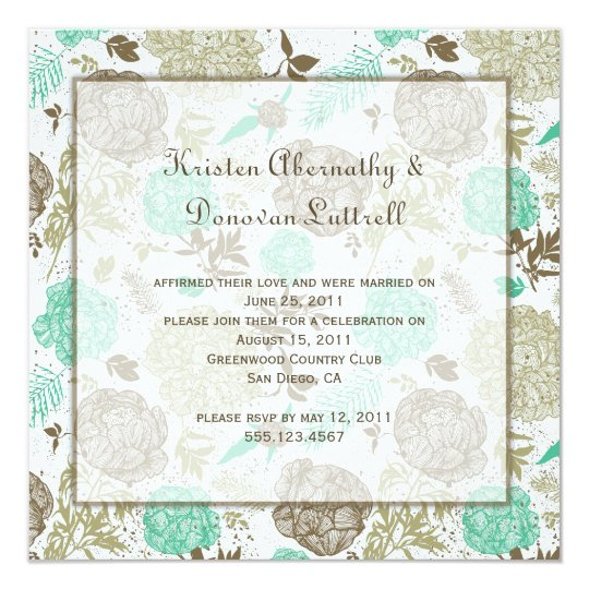 Teal Brown Tan Olive Floral Abstract Post Wedding Card