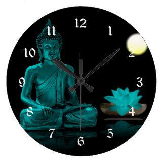 Teal Buddha Meditating Under Full Moon Wall Clocks