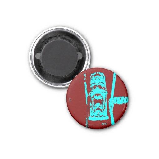 Teal/Burgundy Weird Face Small Round Magnet Fridge Magnet