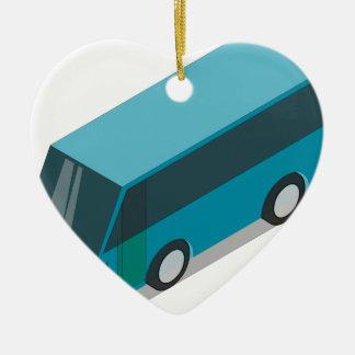 Teal Bus Ceramic Ornament