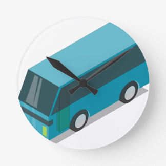 Teal Bus Round Clock