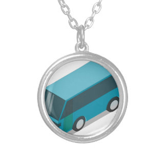 Teal Bus Silver Plated Necklace