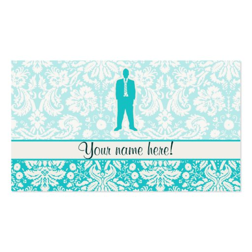 Teal Business Suit Business Cards