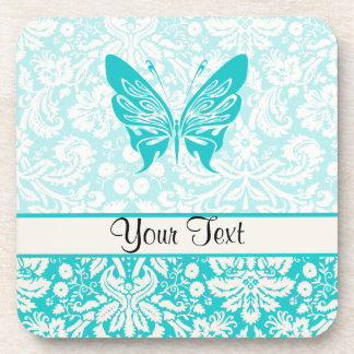 Teal Butterfly; Damask Pattern Beverage Coasters