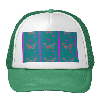 Teal Butterfly Fuchsia Stripes by Sharles Hat