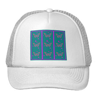 Teal Butterfly Fuchsia Stripes by Sharles Trucker Hats