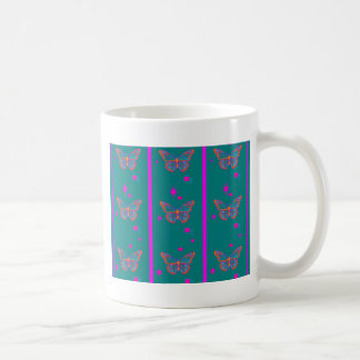 Teal Butterfly Fuchsia Stripes by Sharles Mugs