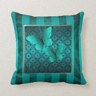 Teal Butterfly Kisses Pinstripe Pillow