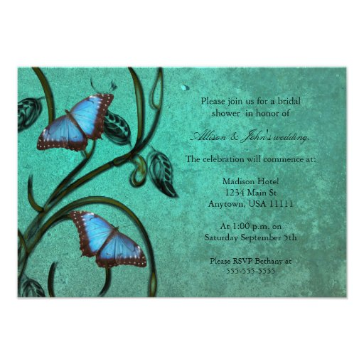 Teal Butterfly Pair Bridal Shower Invitation