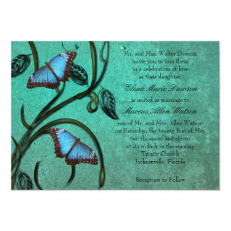 Teal Butterfly Pair Wedding Invitation