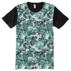 Teal Camo All-Over Print T-Shirt